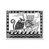 The Owl And The Pussycat, White Background Fine Art Print