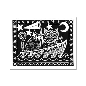 The Owl And The Pussycat, Black Background Fine Art Print