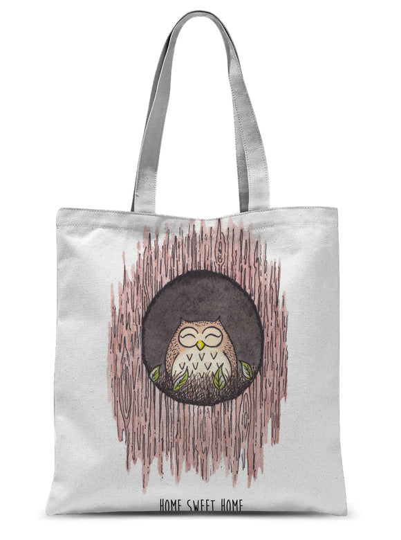 Owl At Home Sweet Home Sublimation Tote Bag
