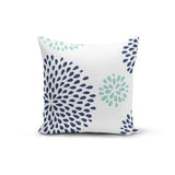 Blue Teal Flowers Pillow Cover