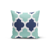 Teal Blue Geometric Pillow Cover