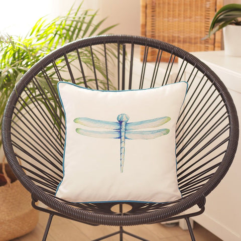"Watercolor Dragonfly Square 18"" Pillow Cover"