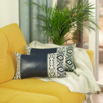 Navy Blue Vegan Leather Lumbar Pillow Cover (Set of 2)