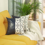 "Navy Blue Vegan Leather Square 17"" Pillow Cover (Set of 2)"