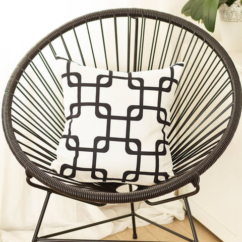 "Geometric Black Squares Square 18"" Pillow Cover"