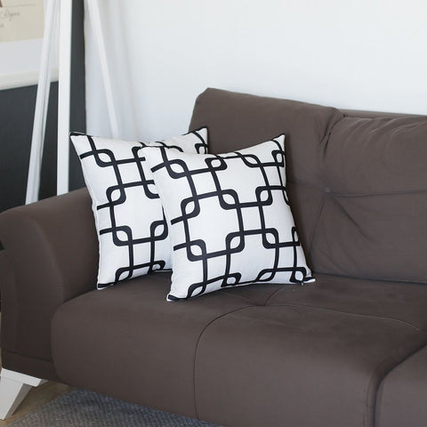 "Geometric Black Squares Square 18"" Pillow Cover (Set of 2)"