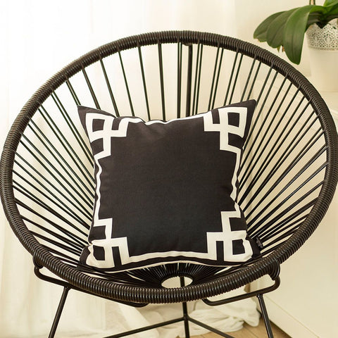Geometric Black & White Square Pillow Cover