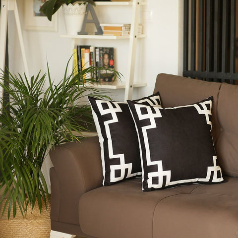 Geometric Black & White Square Pillow Cover (Set of 2)