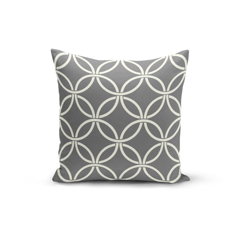 Grey Circle Interlock Pillow Cover