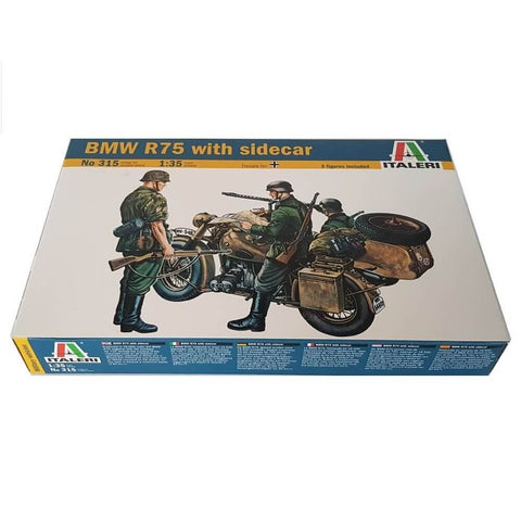 1:35 German BMW R75 Motorcycle with Sidecar - ITALERI