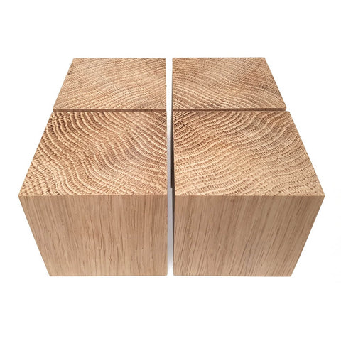 4 x Solid OAK cubes 70 mm / 2 ¾ inch