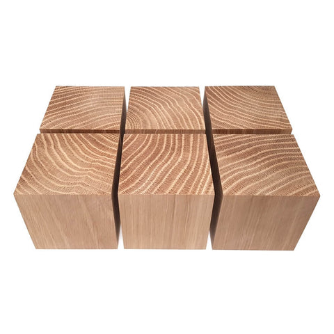 6 x Solid OAK cubes 60 mm / 2 ¼ inch