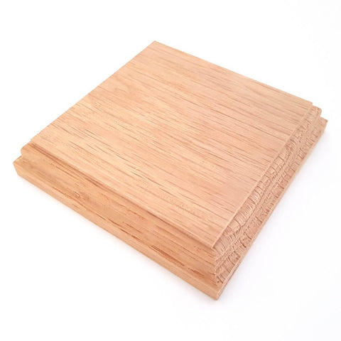 Solid OAK square base 100 x 100 x 20 mm / 4 x 4 x ¾ inch