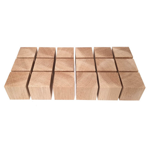 18 x Solid OAK cubes 45 mm / 1 ¾ inch