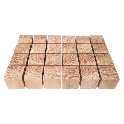 24 x Solid OAK cubes 40 mm / 1 ½ inch