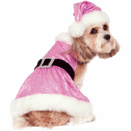 Sequin Pink Santa Dress Christmas Pet Costume