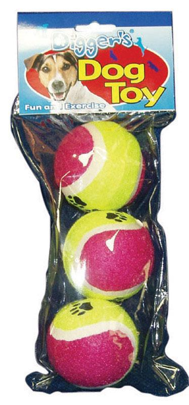 Diggers  Multicolored  Pet Tennis Balls  Rubber  Dog Toy  Large  3