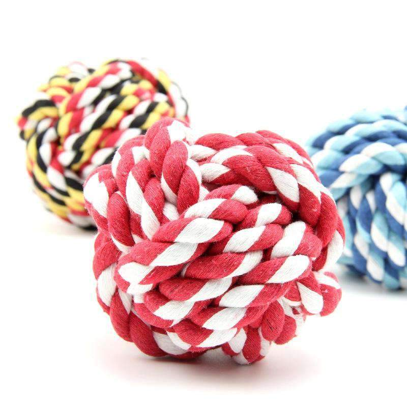 3 x Pets Weave Cotton Rope Ball Toys Colorful Woven Pet Dog Cat Toy - Thorito's Closet