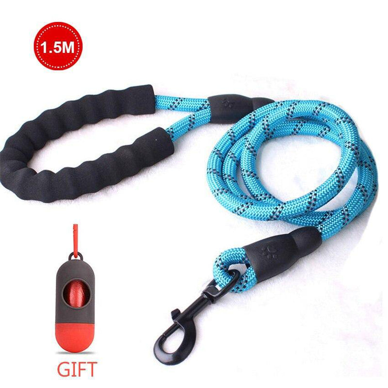 Strong Reflective Nylon Rope Pet Leash With Comfortable Padded Handle and Poop Bags - Thorito's Closet