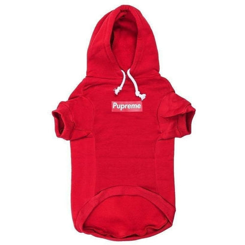 Pupreme Box Logo Hoodie | Red - Thorito's Closet