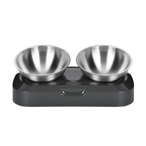 Non-Slip Stainless Steel Double Pet Bowl With Raised Stand - Thorito's Closet