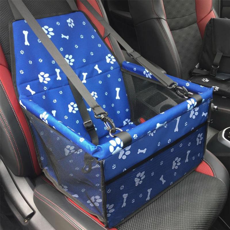 Waterproof Universal Pet Car Seat Pawprints Design Blue/Black - Thorito's Closet