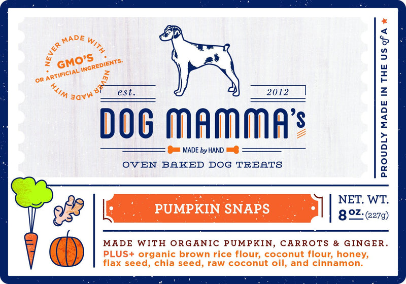 Pumpkin Snaps Organic Dog Treats - 8 oz - Thorito's Closet