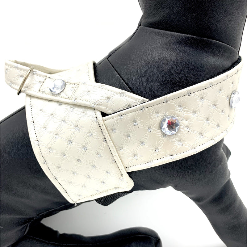 White glitter leather harness with Swarovski crystals - Thorito's Closet