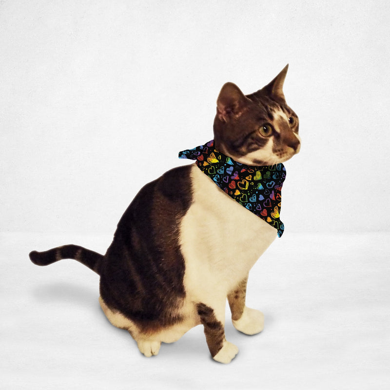 Rainbow Hearts Cat & Dog Bandana - Thorito's Closet