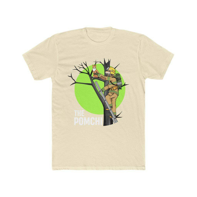 Dog Firefighter Saving Cat From Tree - Thor The Pomchi - Men's Cotton Crew Tee (THOR) - Thorito's Closet