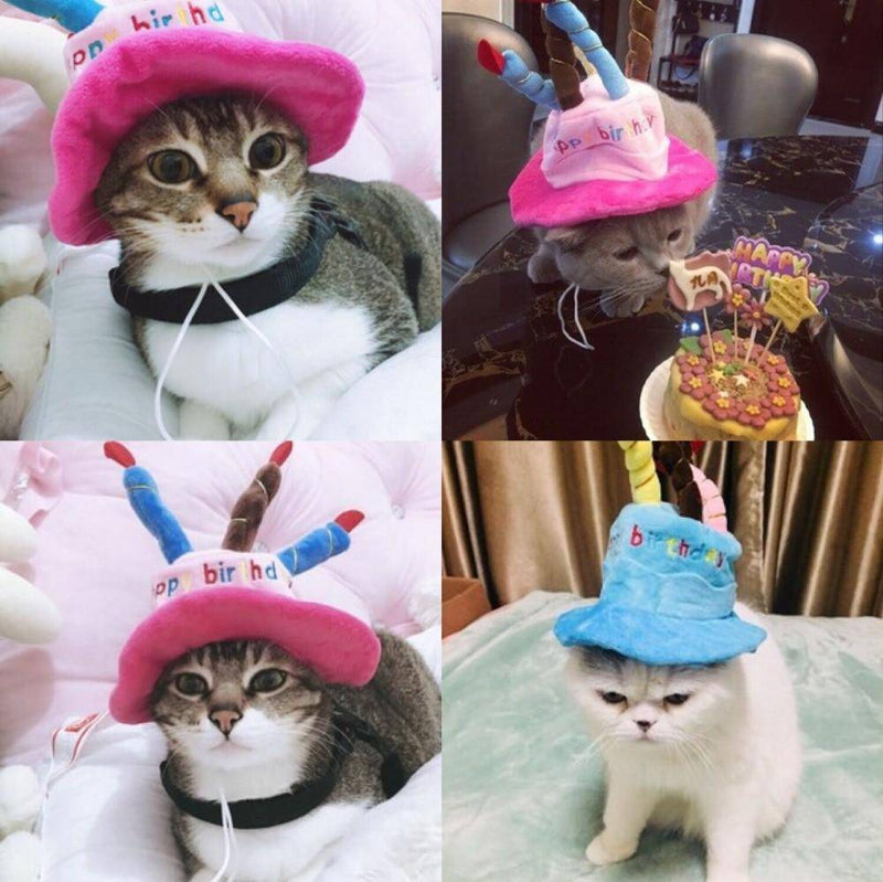Adjustable Corduroy Birthday Hat With Candles For Small Medium Dogs Cats Pets - Thorito's Closet