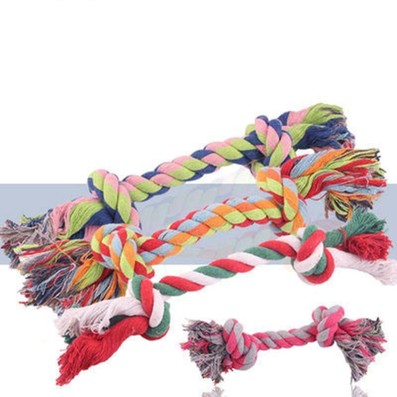 Braided Dog Toy Cotton Puppy Knit Chew Toys Durable Knot Rope - Random Color - Thorito's Closet