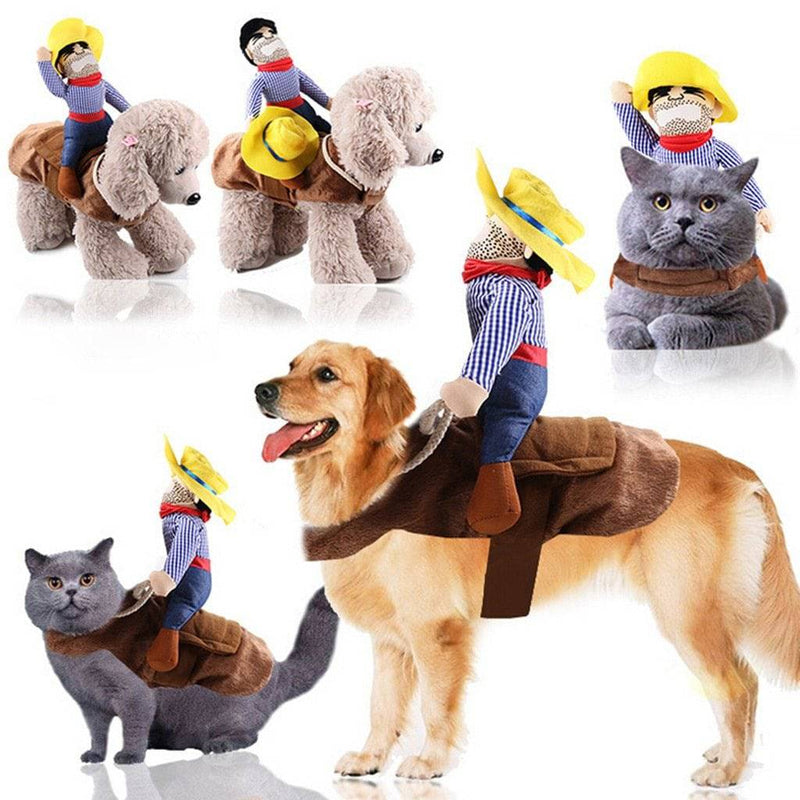 Cowboy Riding Pet Dog Cat Halloween Costume For Large Pets Cats Dogs (S-XL) - Thorito's Closet