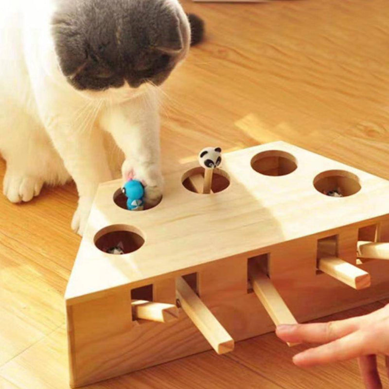 Funny Indoor Solid Wooden Cat Interactive Hunting Toy Interactive 3/5 Holes Mouse Scratch Kitty Cat Play Toy - Thorito's Closet
