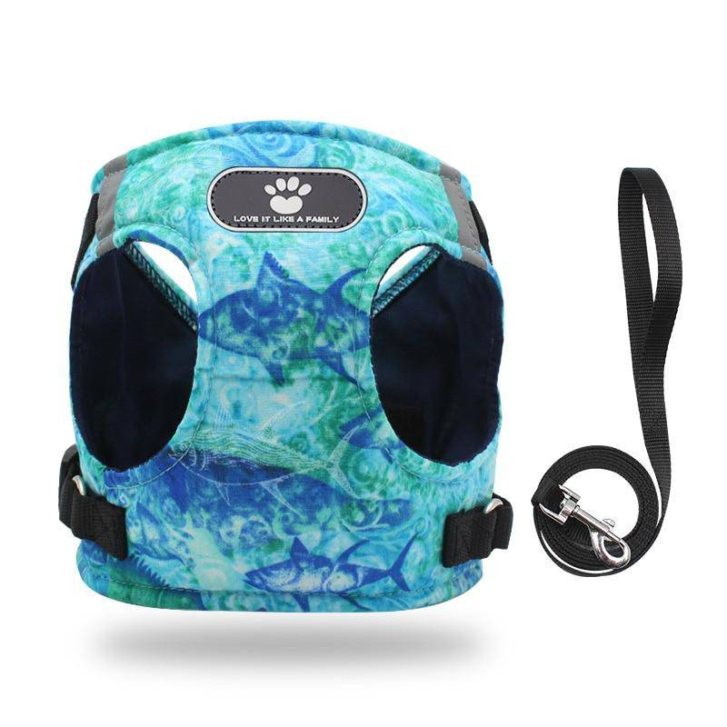 Ocean Print Nylon Pet Harness Vest With Reflective Strips and Walking Leash (XS-XL) - Thorito's Closet