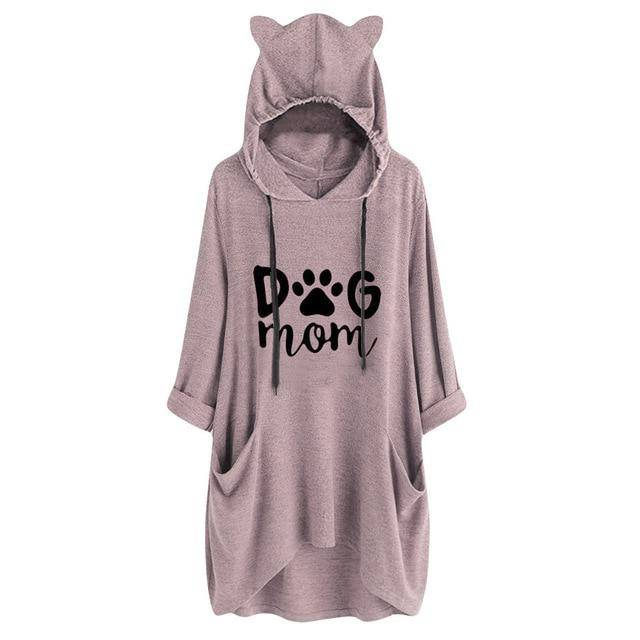 Dog Mom Hoodie Women's Cat Ears Hooded Sweatshirt Casual Loose Long Sleeve With Pockets - Thorito's Closet