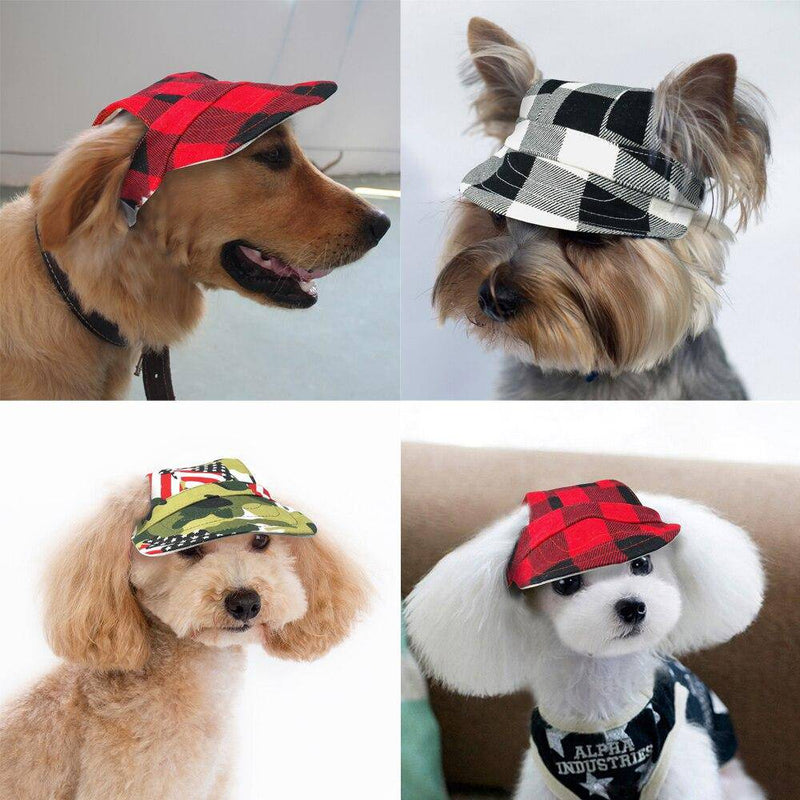 Summer Plaid Canvas Cap Hat With Ear Holes for Pets Cats Dogs (S-L) - Thorito's Closet