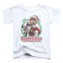 Load image into Gallery viewer, Santa Claus Is Comin To Town - Penguin Short Sleeve Toddler Tee Short Sleeve Toddler Tee ApparelPop!