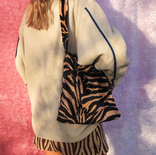 Load image into Gallery viewer, Zebra tan fluffy tote bag