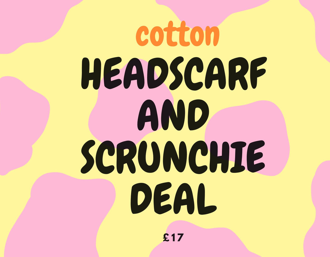 Cotton headscarf and scrunchie deal