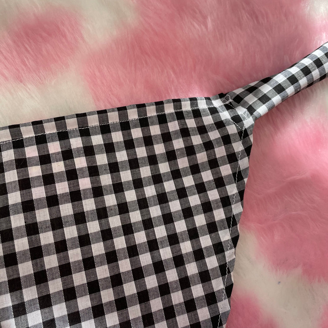 Black gingham headscarf