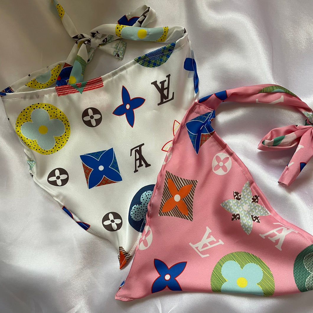 LV SILK HEADSCARFS (pink and white)