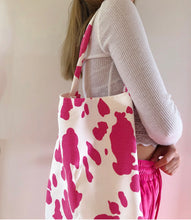Load image into Gallery viewer, Denim pink cow print tote bag