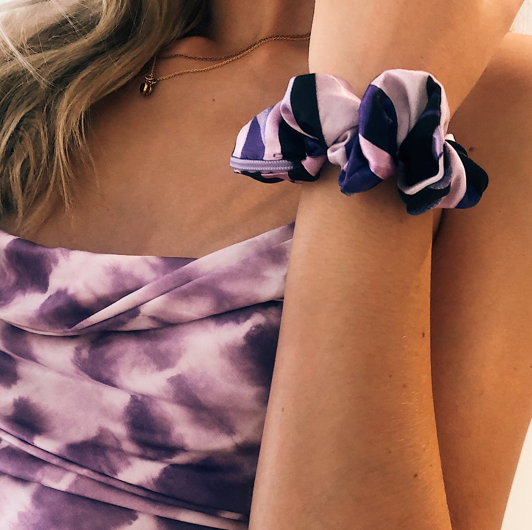 *NEW* Purple mix silk zip scrunchie