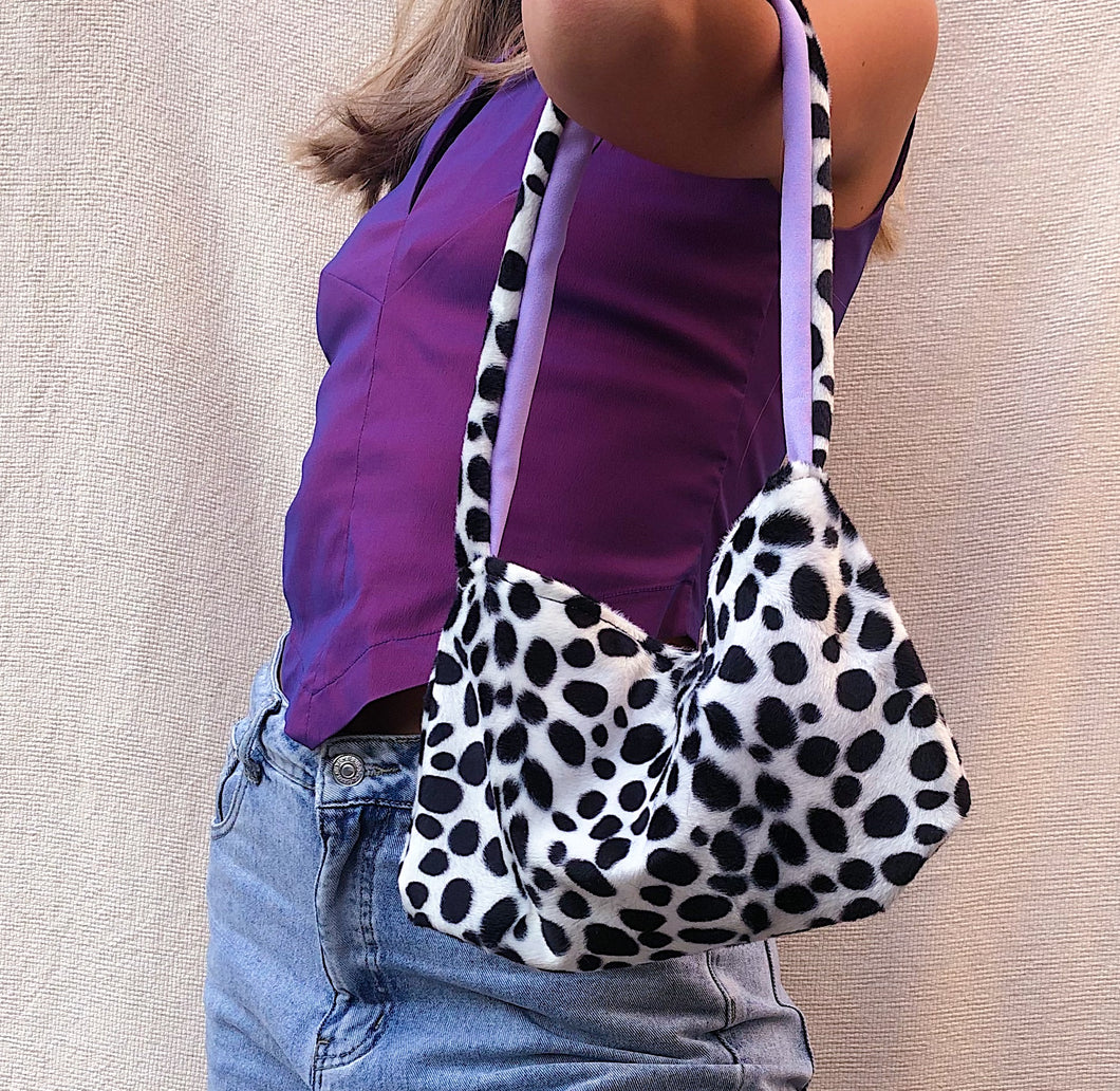 Fluffy Dalmatian print shoulder bag