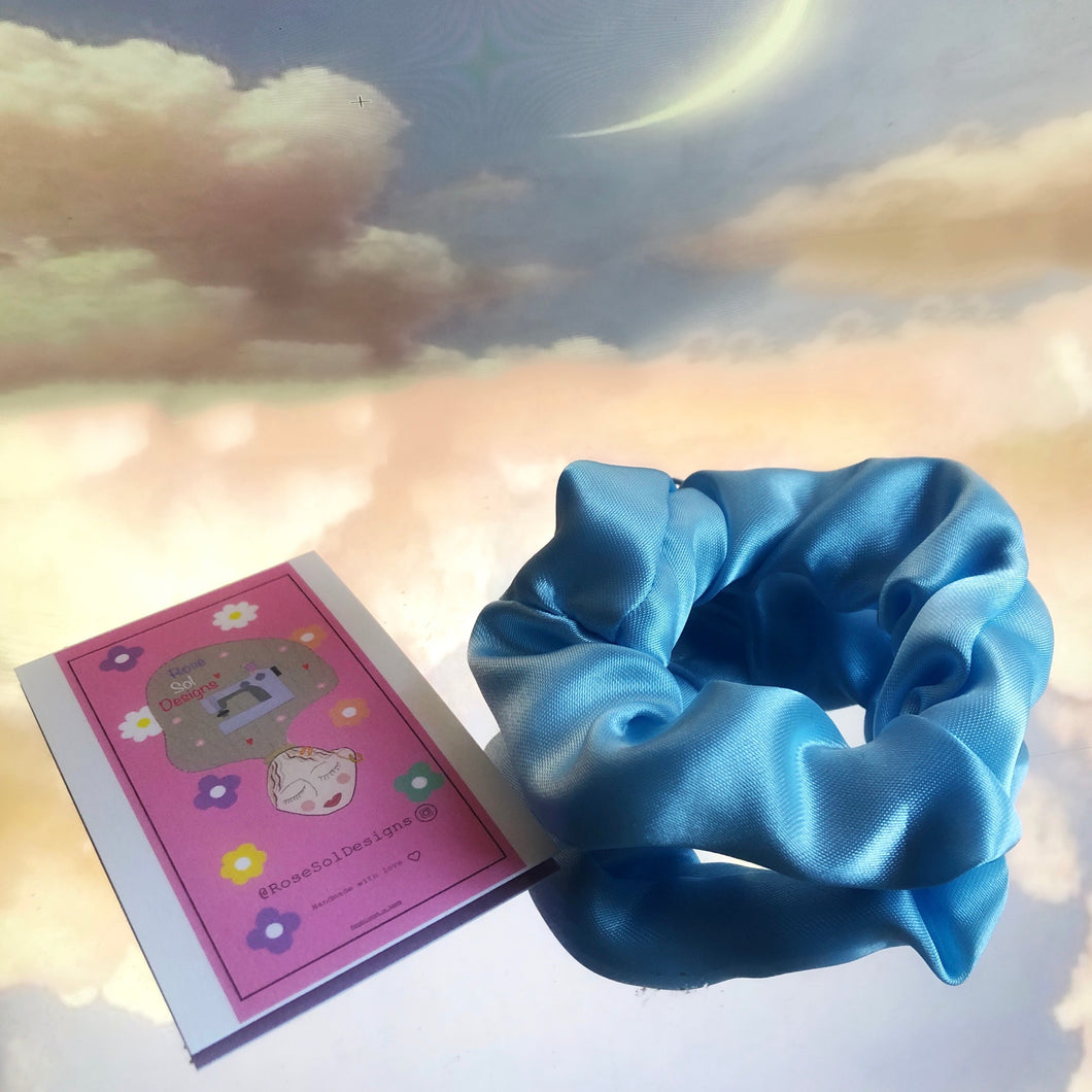 Baby blue satin zip scrunchie