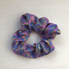 Load image into Gallery viewer, Purple swirl Lycra scrunchie