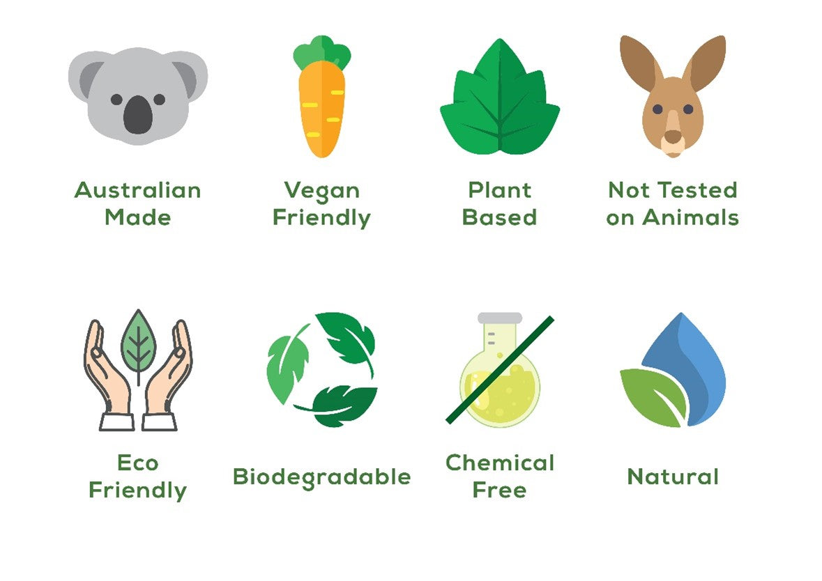Australian Made, Vegan & Eco Friendly, Plant Based, Not Tested on Animals, Natural, Chemical Free & Biodegradeable products