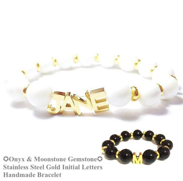 [ Hot Selling ] 3 Gold Initial + 1 Free Heart Charm Gemstone Bracelet Set