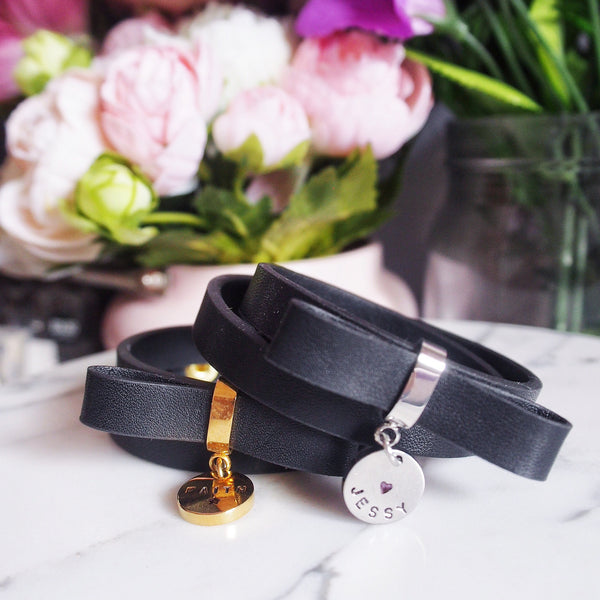 Double Wrap Leather Bow Bracelet